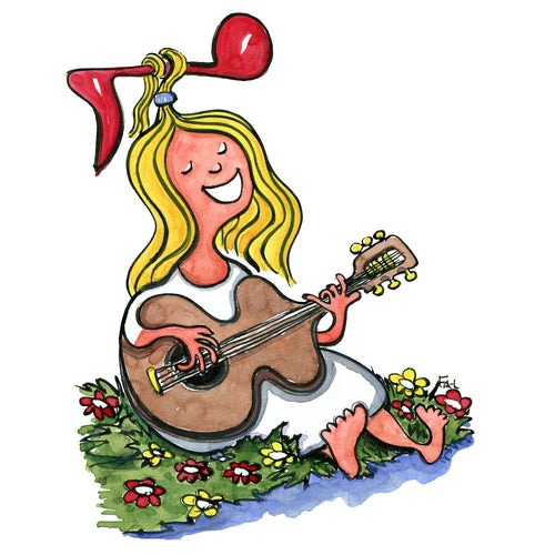 Music girl illustration by Frits Ahlefeldt