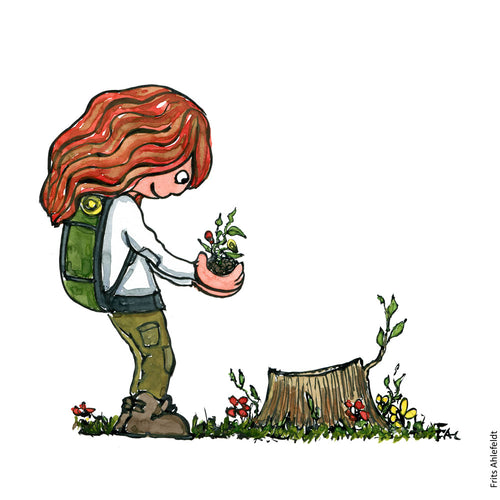 Drawing of a girl with backpack, standing with a sprout by a cut down tree. Illustration by Frits Ahlefeldt