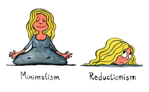 woman doing yoga sitting in balance and minimalism text. next image just head and reductionism text. illustration by Frits Ahlefeldt