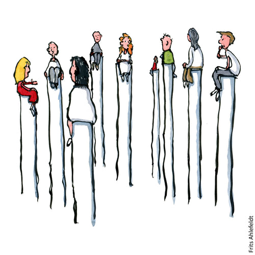 Drawing of a group of people sitting on poles. Illustration by Frits Ahlefeldt