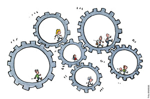 Drawing of people running in hamster wheels made as connected clock wheels. Illustration by Frits Ahlefeldt
