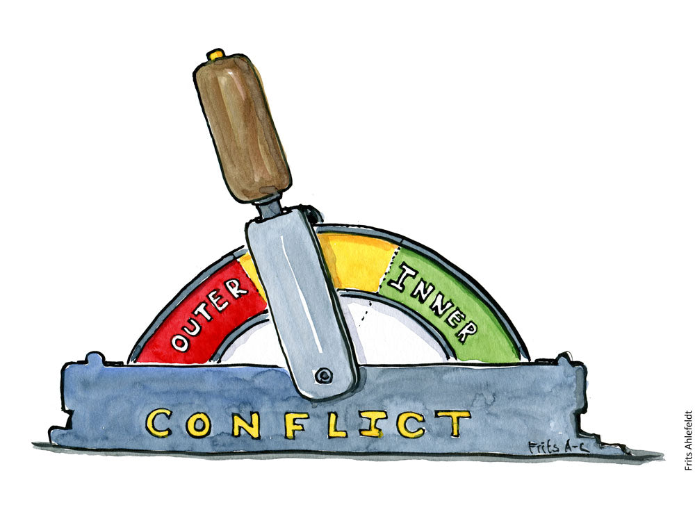 drawing of a switch between inner conflicts and outer conflicts. Psychology illustration by Frits Ahlefeldt