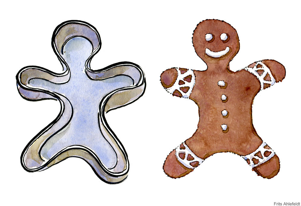 Drawing of a cookie form and a cookie. Illustration by Frits Ahlefeldt