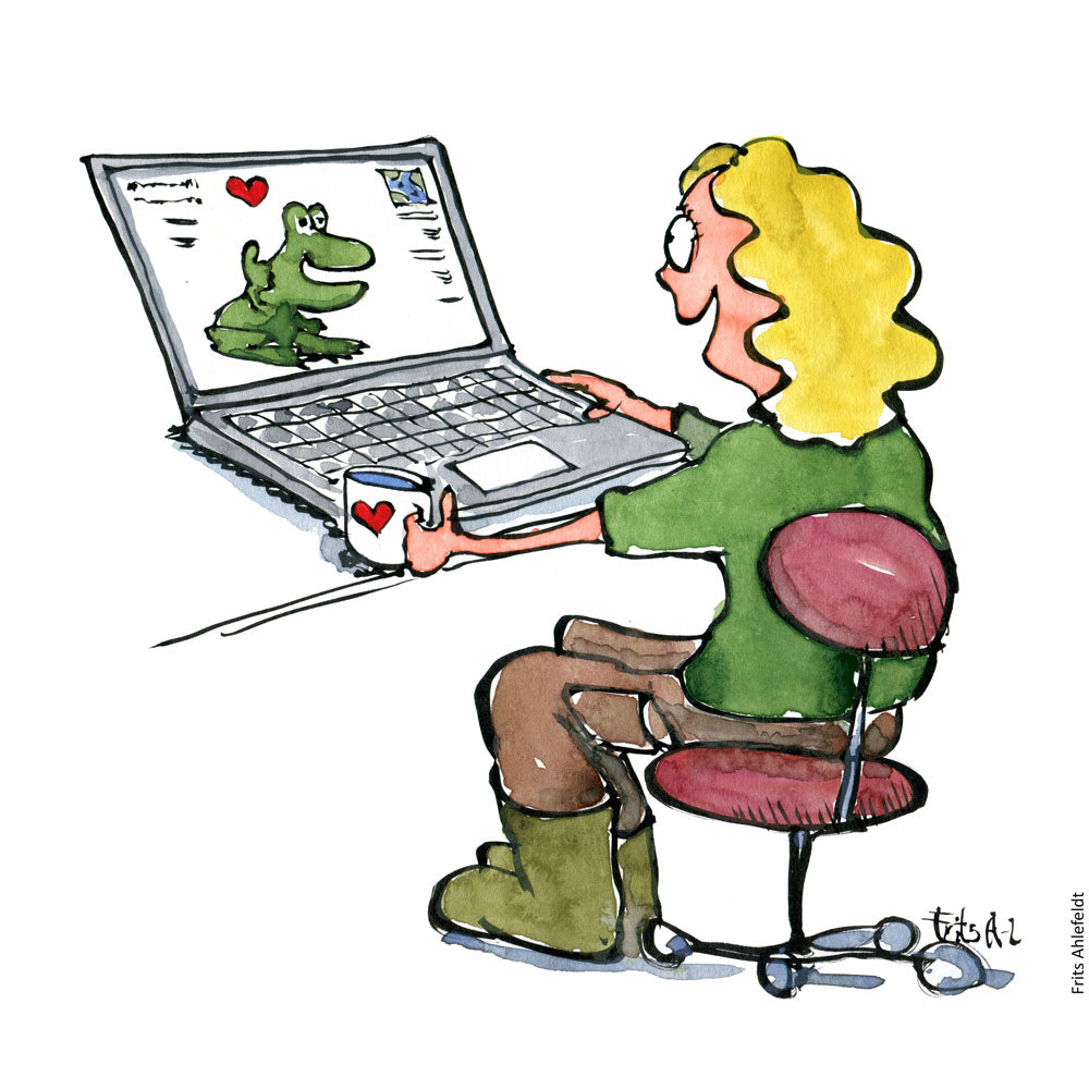 Drawing of a woman looking at a frog on a laptop looking happy with hearts. Illustration by Frits Ahlefeldt
