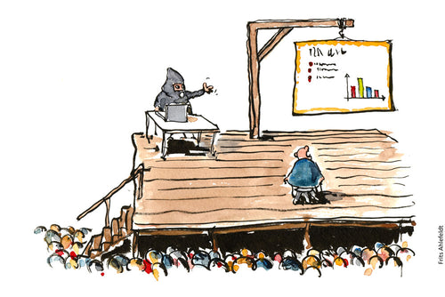 Drawing of a man on the scaffold with the executioner showing him statistics as a PowerPoint show. Illustration by Frits Ahlefeldt