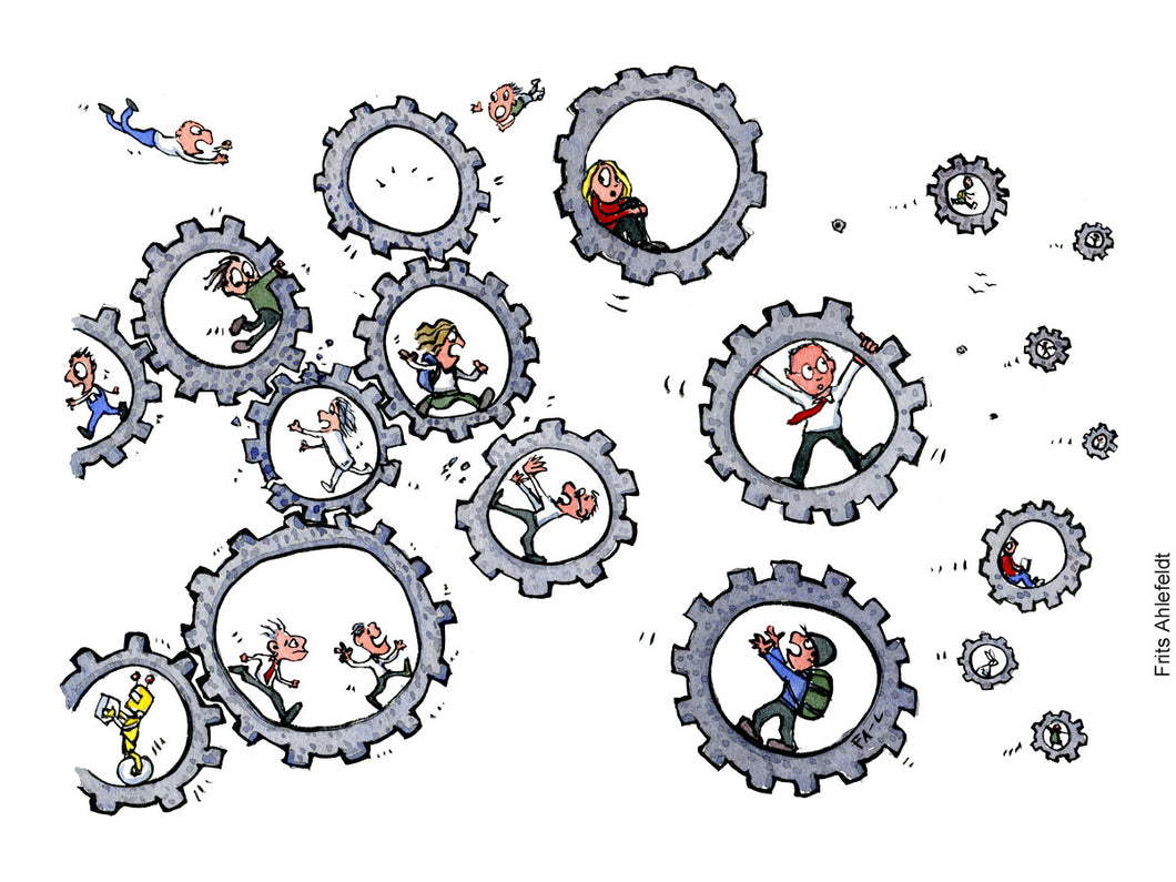 Di00490 Community cogwheels breaking illustration