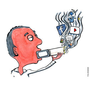 Drawing of a man smoking a mixture of digital drugs. Illustration by Frits Ahlefeldt