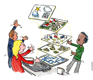 Drawing of people making 3D models on computer to help design against climate change. Illustration by Frits Ahlefeldt