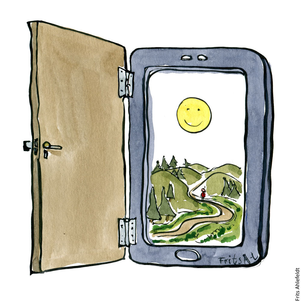 Drawing of a digital door on a smartphone leading to nature. Illustration by Frits Ahlefeldt