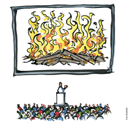Drawing of a speaker making a presentation in front of a digital fireplace. <h2><em>Drawing of a man making a speak in front of a digital fireplace Illustration by Frits Ahlefeldt