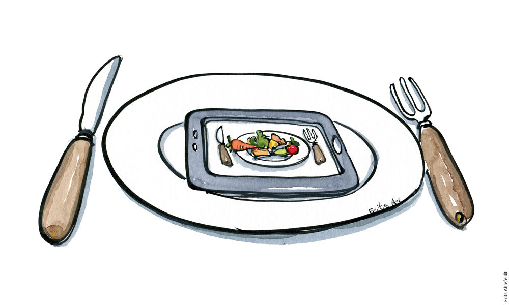 Drawing of a plate , knife and fork and a telephone on it with a plate with food on it. Illustration by Frits Ahlefeldt