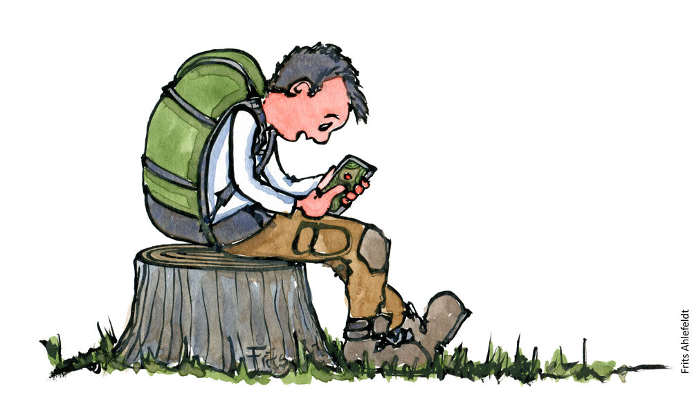 Drawing of a hiker sitting on a cut down tree trunk with his smartphone. Illustration by Frits Ahlefeldt