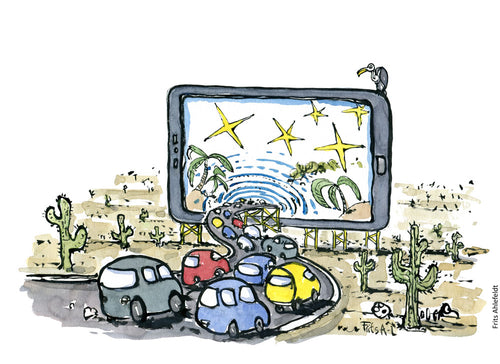 Drawing of a row of cars driving into a digital paradise on a screen away from the desert. Illustration by Frits Ahlefeldt