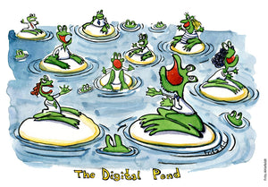 Drawing of a digital pond with everybody competing for likes and attention. Illustration by Frits Ahlefeldt