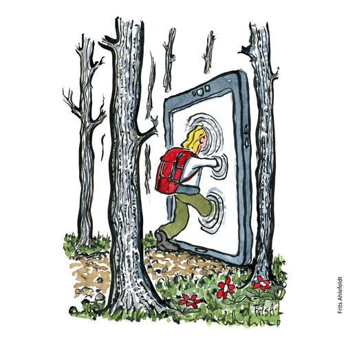 Drawing of a hiker leaving the landscape through a digital portal ( smartphone) Illustration by Frits Ahlefeldt
