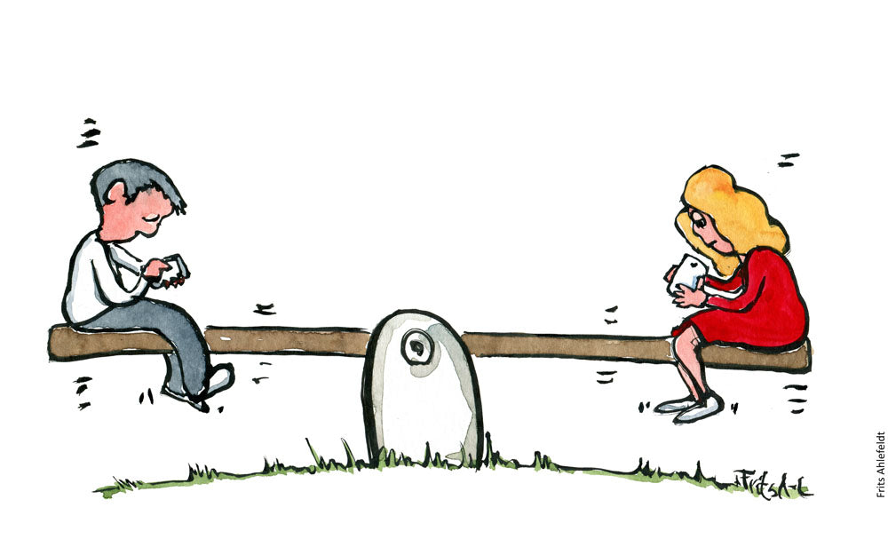 Drawing of a man and woman sitting on a see saw, each with a phone in their hand. Illustration by Frits Ahlefeldt