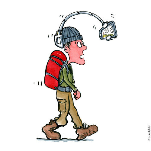 Drawing of a hiker with a selfie taking phone or camera attached to his head. ( hat ) Illustration by Frits Ahlefeldt