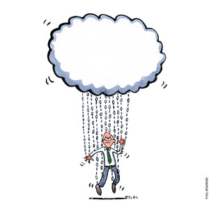 Drawing of a man with strings attached to the digital clouds. Illustration by Frits Ahlefeldt