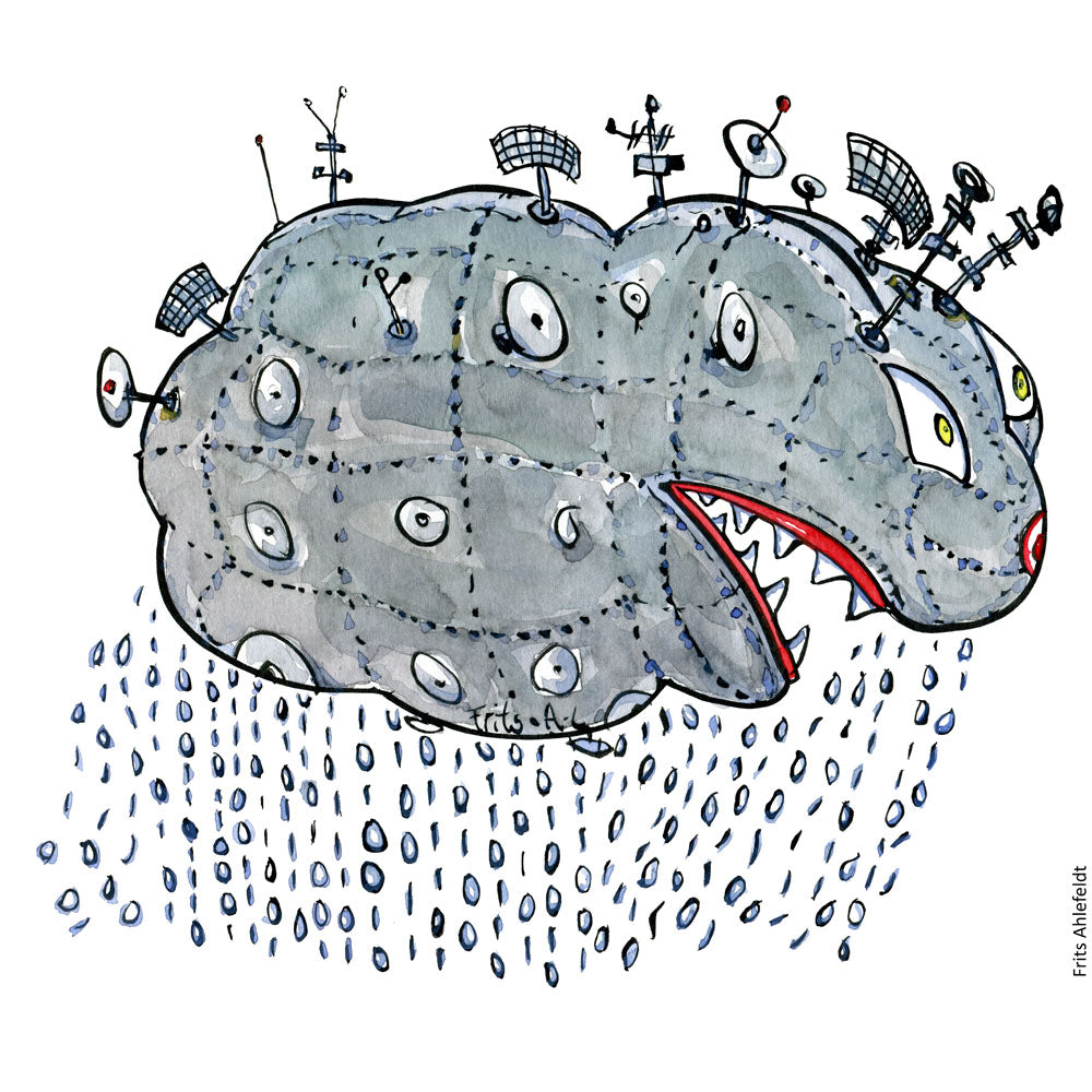 Drawing of a digital war cloud with rain and guns sticking out. Illustration by Frits Ahlefeldt