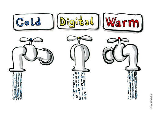 Drawing of three taps - Cold, digital and warm water. Illustration by Frits Ahlefeldt