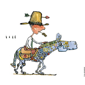 Drawing of a cowboy with an arrow in his hat, slowly riding on a digital horse. Technology Illustration by Frits Ahlefeldt