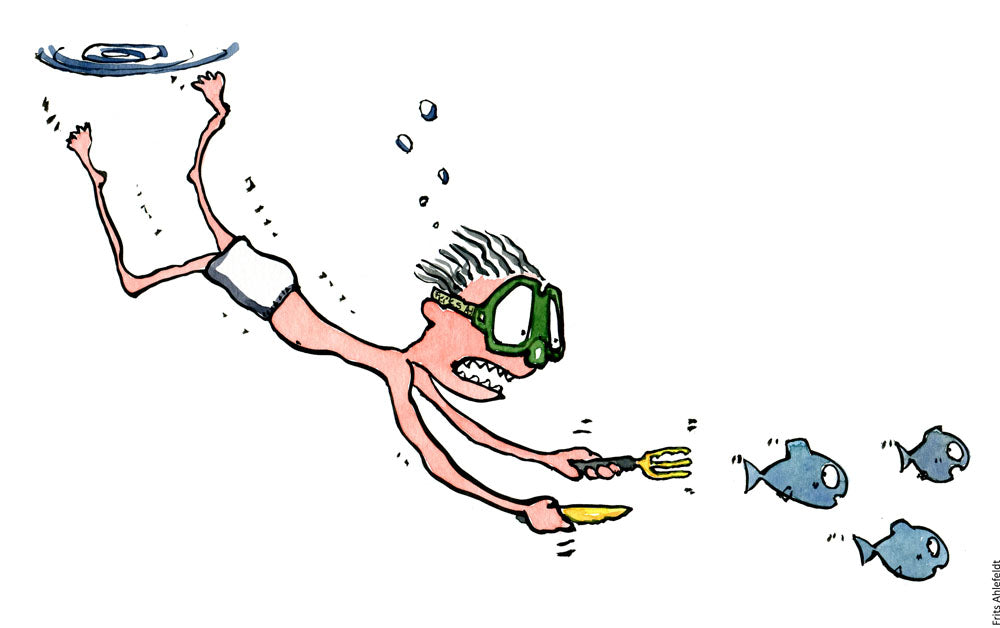 Drawing of a diver with a knife and fork swimming after fish. Illustration by Frits Ahlefeldt
