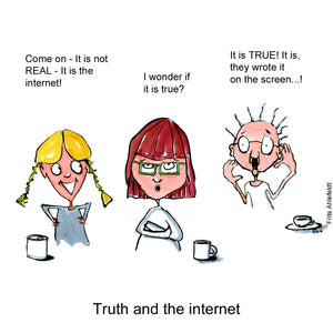 Drawing of young girl, parent and old woman discussing truth and the internet. Technology illustration by Frits Ahlefeldt