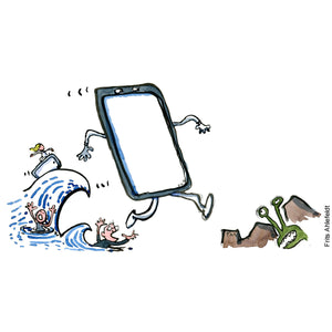 Drawing of a phone jumping from sea to land Technology illustration by Frits Ahlefeldt