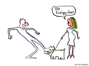 drawing of a dog that bites a man while the woman owner say it is ecology dear. Illustration by Frits Ahlefeldt