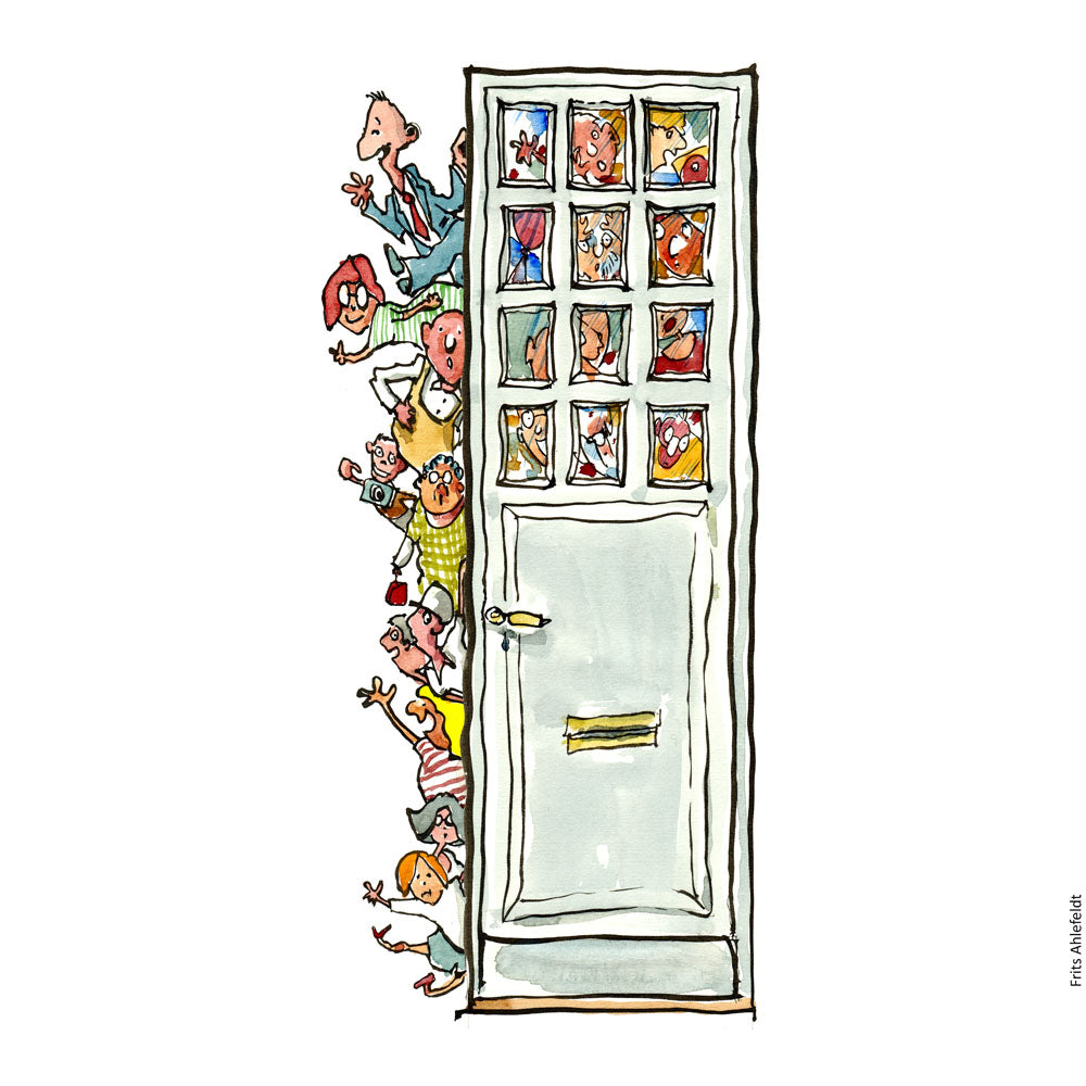 Drawing of a group of people coming in through a door, smiling. Psychology illustration by Frits Ahlefeldt