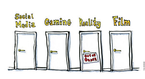 Drawing Four doors: Social Media, Gaming, Reality, and Film - with Reality door out of order . Illustration by Frits Ahlefeldt