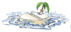 Drawing of an island made out of a pill, with a woman sitting lonely under a palm surrounded by water. Illustration by Frits Ahlefeldt