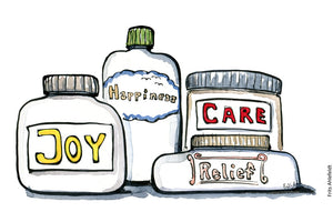 drawing of medicine jars with labels joy, caring, relief on them. Illustration by Frits Ahlefeldt