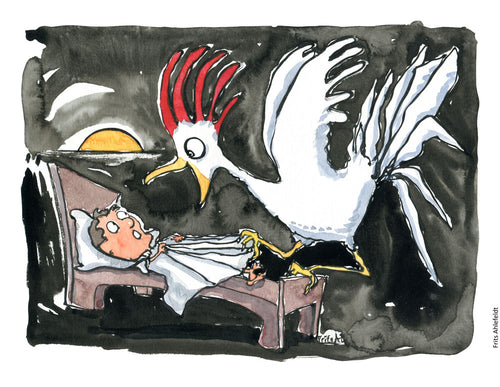 Drawing of a roaster in the morning trying to wake up a man. Illustration by Frits Ahlefeldt
