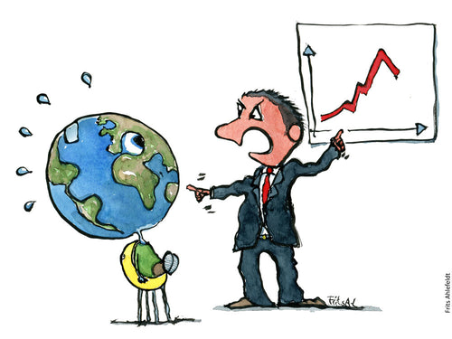 Drawing of an angry business man figure blaming Planet Earth its performance. Illustration by Frits Ahlefeldt