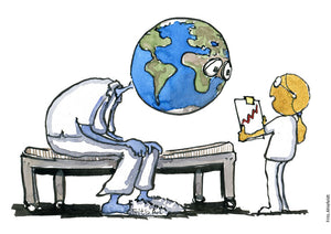 Drawing of planet Earth looking sick and a nurse or doctor Moon like person with its journal. Illustration by Frits Ahlefeldt
