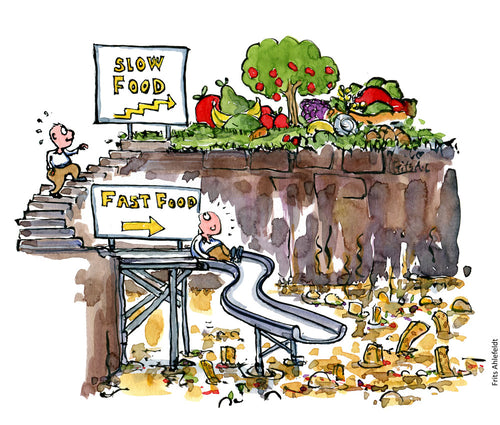 Drawing of a fast food slide vs a slow food stairway. Illustration by Frits Ahlefeldt