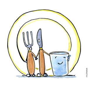 Drawing of a knife, fork, plate and glass looking happy together. illustration by Frits Ahlefeldt