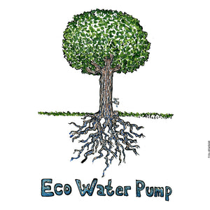 Drawing of a tree with a water tap in it and roots. and the text Eco water pump. Illustration by Frits Ahlefeldt