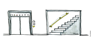 Drawing of an elevator and a stair way. Illustration by Frits Ahlefeldt