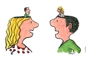 Drawing of a woman and man talking, with tiny versions of each other in each others head. Illustration by Frits Ahlefeldt