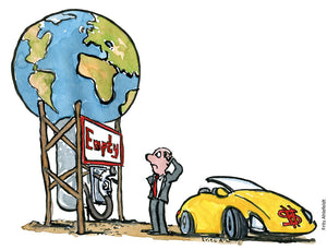 Drawing of a businessman looking at a gasoline like pump, with Earth on top of it. And the sign Empty. Illustration by Frits Ahlefeldt