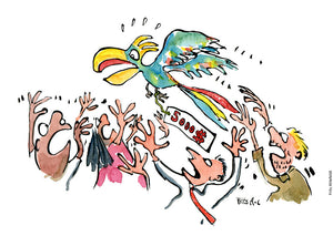Drawing of trade of endangered species. People trying to catch a parrot bird with a pricetag on it. Illustration by Frits Ahlefeldt