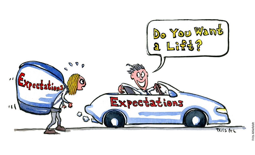 Drawing of a girl with a backpack filled with expectations that are offered a ride in a fancy car, with the word expectations written on it. Illustration by Frits Ahlefeldt