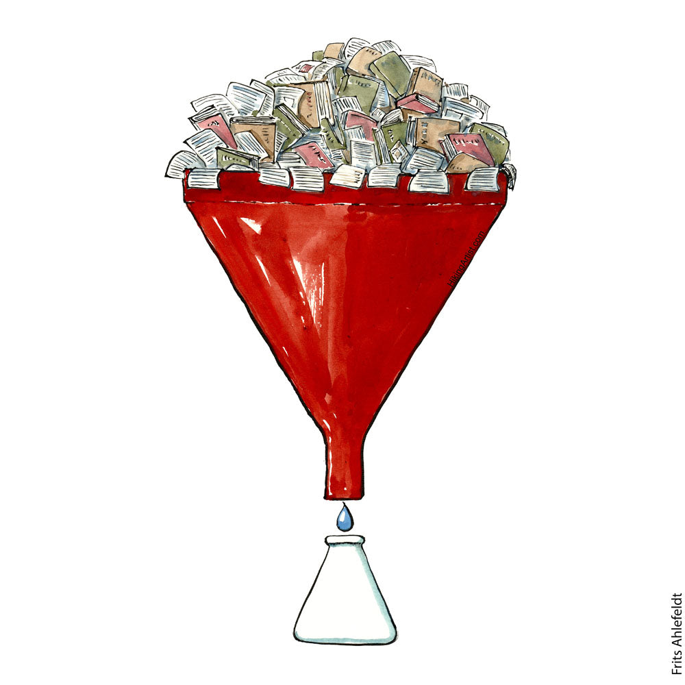 Drawing of a red funnel with papers and books sticking out and a drop ( extract - knowledge) coming from the end into a small cup. Illustration by Frits Ahlefeldt
