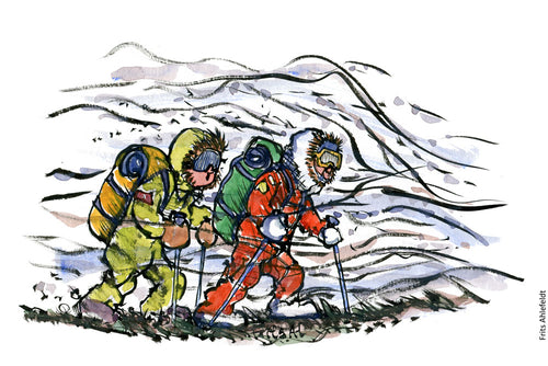 Drawing of two hikers on an expedition in extreme weather. Illustration by Frits Ahlefeldt