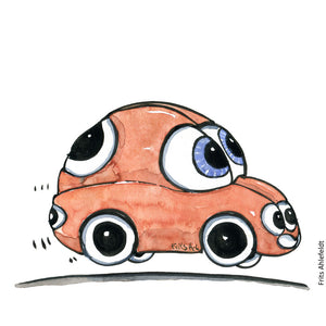 Drawing of a selfdriving car with eyes all over. Illustration by Frits Ahlefeldt