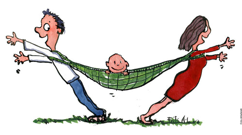 Drawing of a child in a hammock with a man and woman holding it up. Illustration by Frits Ahlefeldt