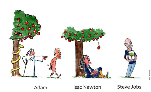 Drawing of Adam leaving Paradise, Newton under an Apple tree and Steve Jobs with a Screen with an apple tree on it. Technology Illustration by Frits Ahlefeldt