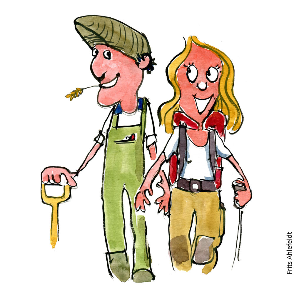 Drawing of a farmer and a hiker standing together smiling. Illustration by Frits Ahlefeldt